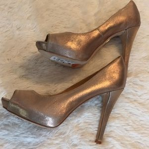 Badgley Mischka Bronze Peep Toe Heels